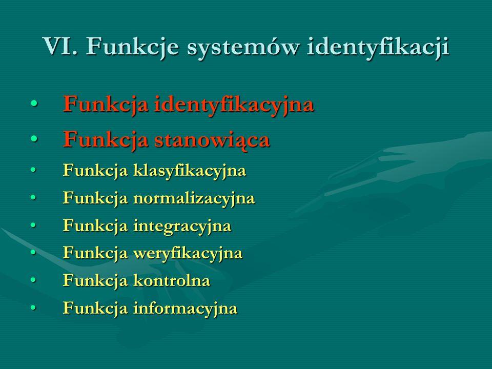 VI. Funkcje systemów identyfikacji