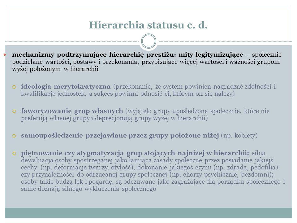 Hierarchia statusu c. d.