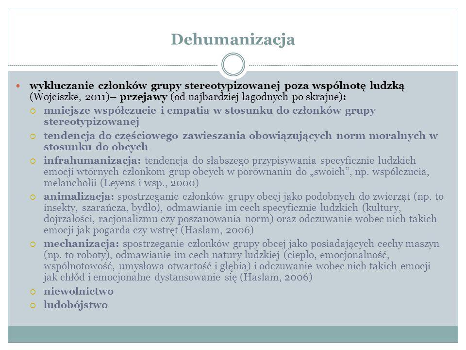 Dehumanizacja wykluczanie członków grupy stereotypizowanej poza wspólnotę ludzką (Wojciszke, 2011)– przejawy (od najbardziej łagodnych po skrajne):
