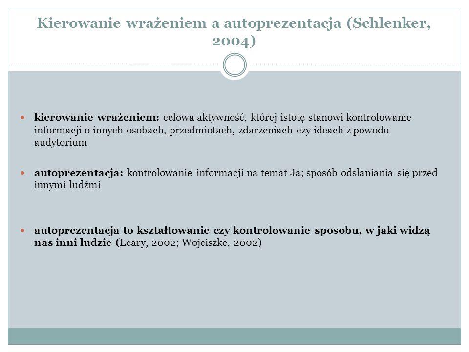 Kierowanie wrażeniem a autoprezentacja (Schlenker, 2004)
