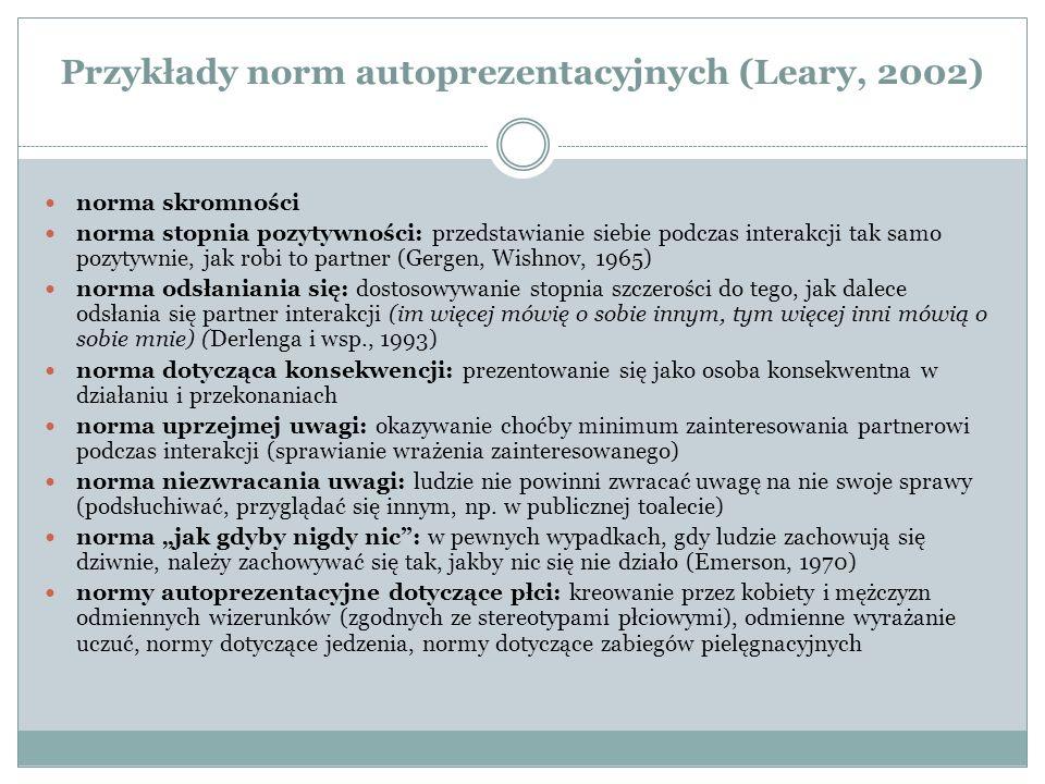 Przykłady norm autoprezentacyjnych (Leary, 2002)