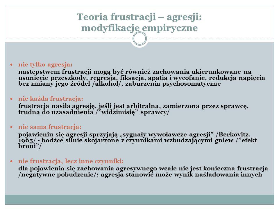 Teoria frustracji – agresji: modyfikacje empiryczne