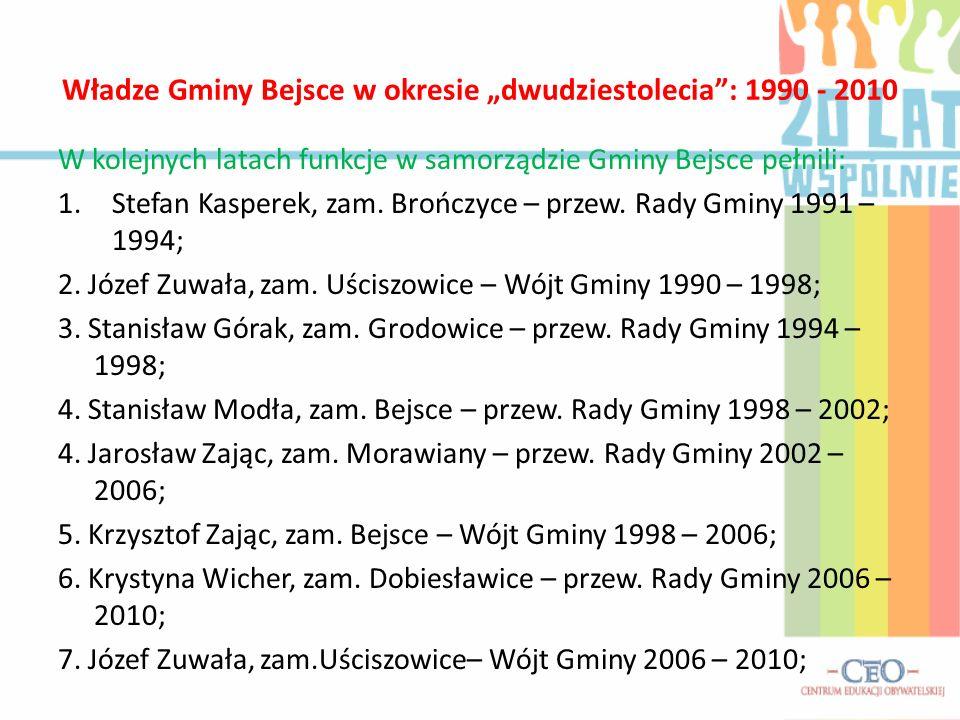"""Władze Gminy Bejsce w okresie """"dwudziestolecia : 1990 - 2010"""