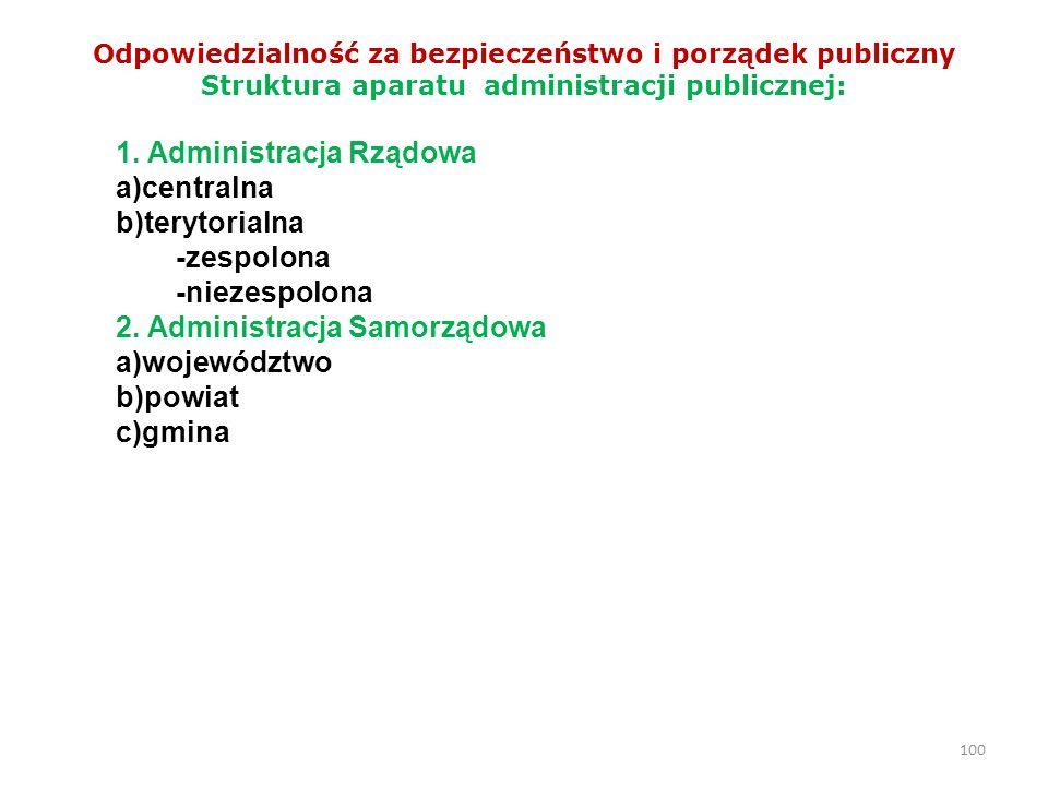 1. Administracja Rządowa a)centralna b)terytorialna -zespolona