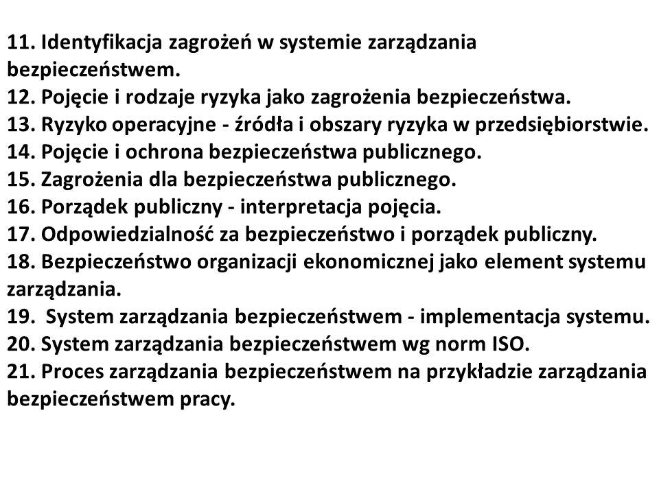11. Identyfikacja zagrożeń w systemie zarządzania bezpieczeństwem.