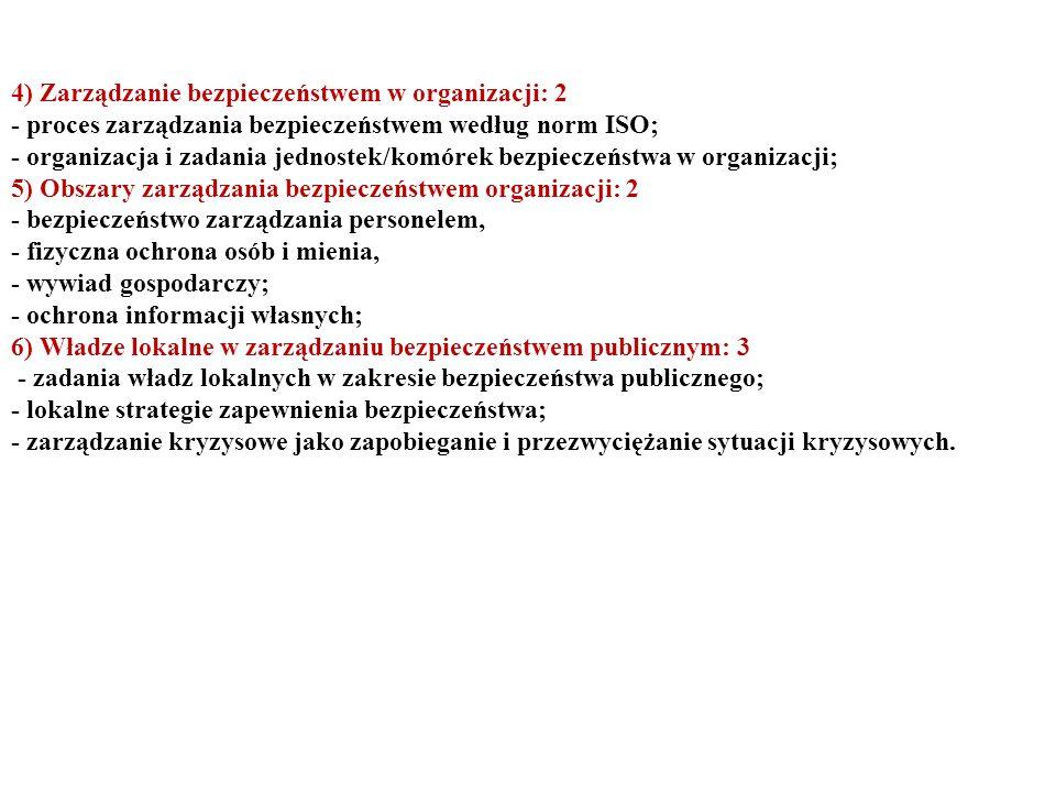4) Zarządzanie bezpieczeństwem w organizacji: 2