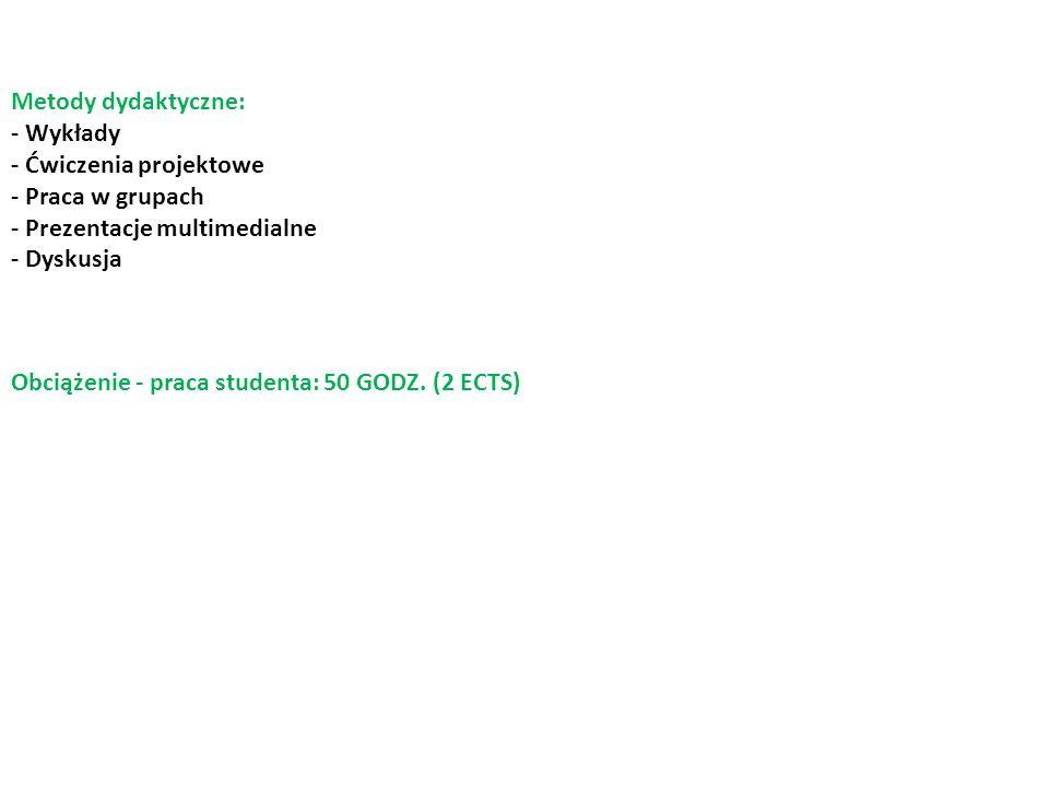 Metody dydaktyczne: - Wykłady. - Ćwiczenia projektowe. - Praca w grupach. - Prezentacje multimedialne.