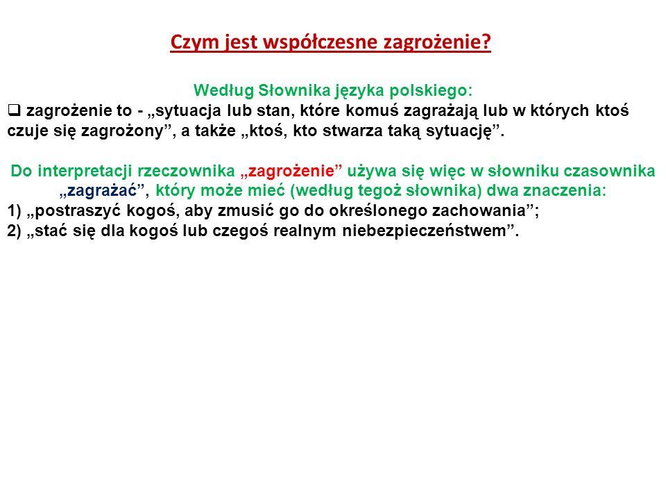 Czym jest współczesne zagrożenie Według Słownika języka polskiego: