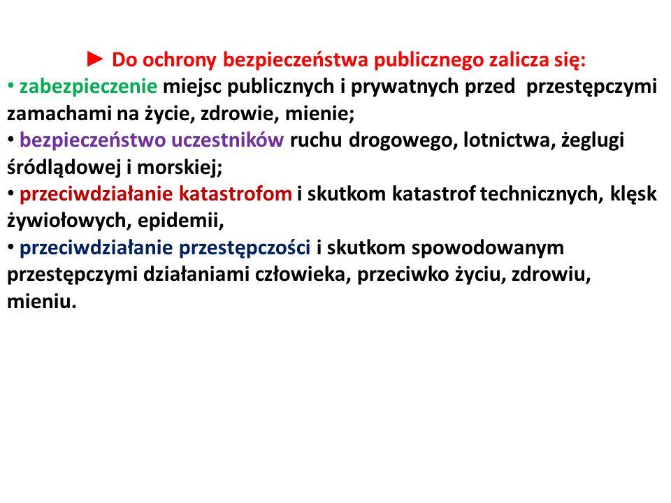► Do ochrony bezpieczeństwa publicznego zalicza się: