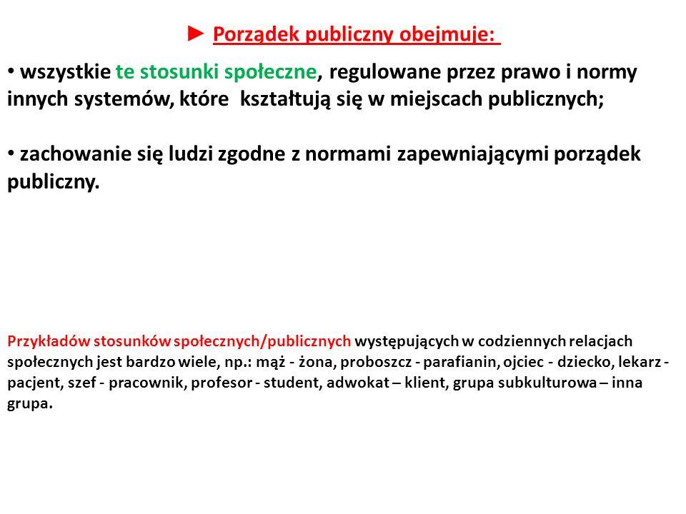 ► Porządek publiczny obejmuje: