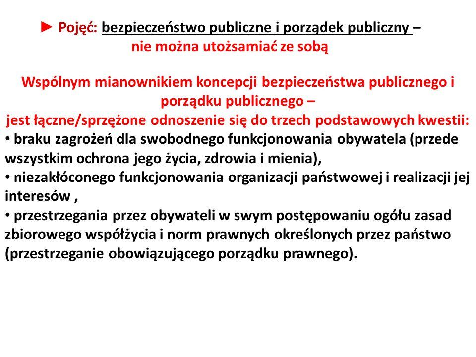 ► Pojęć: bezpieczeństwo publiczne i porządek publiczny –