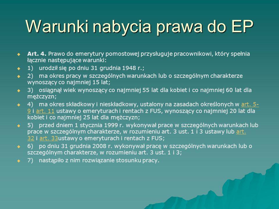 Warunki nabycia prawa do EP