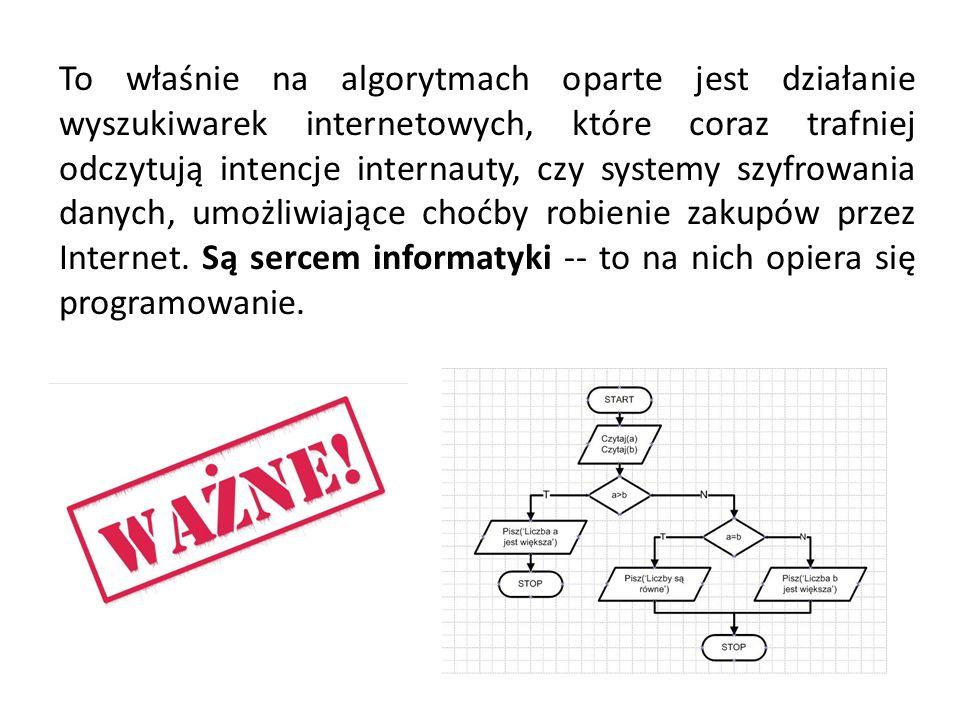 To właśnie na algorytmach oparte jest działanie wyszukiwarek internetowych, które coraz trafniej odczytują intencje internauty, czy systemy szyfrowania danych, umożliwiające choćby robienie zakupów przez Internet.