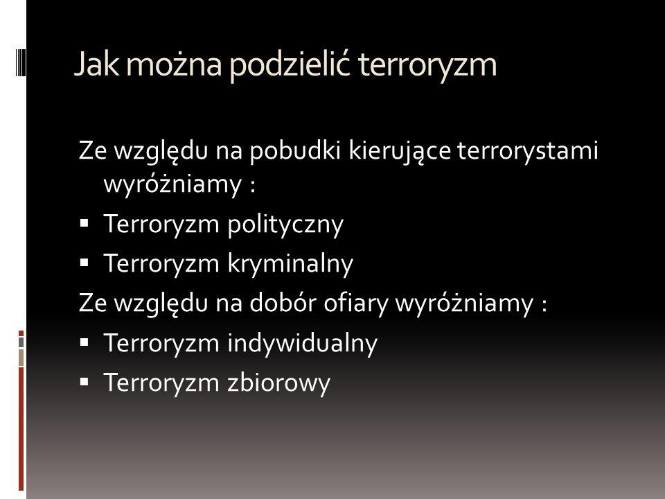 Jak można podzielić terroryzm