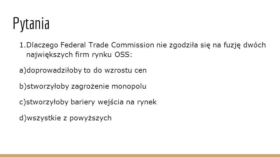 Pytania Dlaczego Federal Trade Commission nie zgodziła się na fuzję dwóch największych firm rynku OSS:
