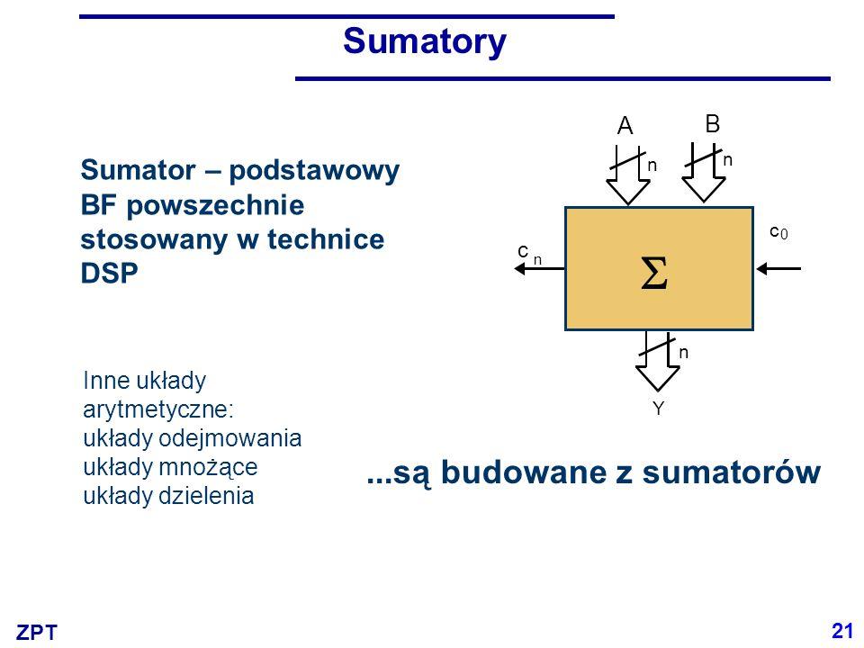 S Sumatory ...są budowane z sumatorów