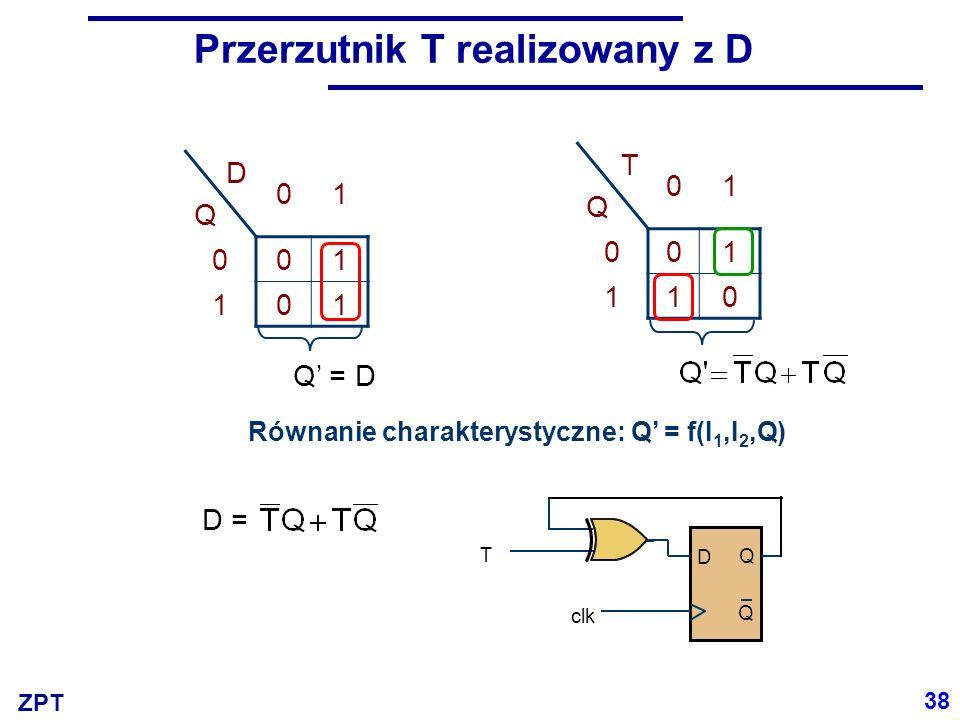 Przerzutnik T realizowany z D
