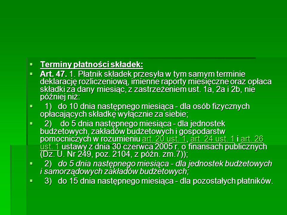 Terminy płatności składek:
