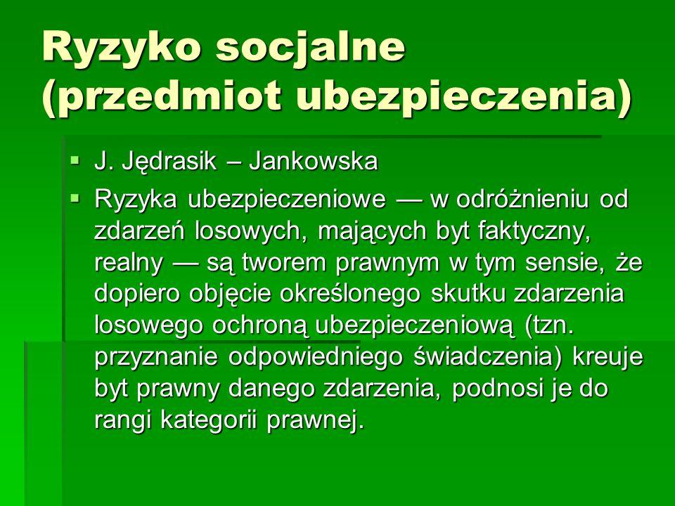 Ryzyko socjalne (przedmiot ubezpieczenia)