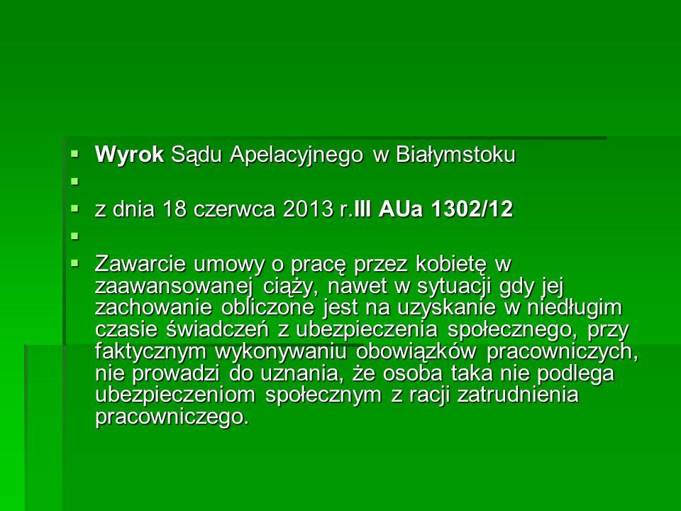 Wyrok Sądu Apelacyjnego w Białymstoku