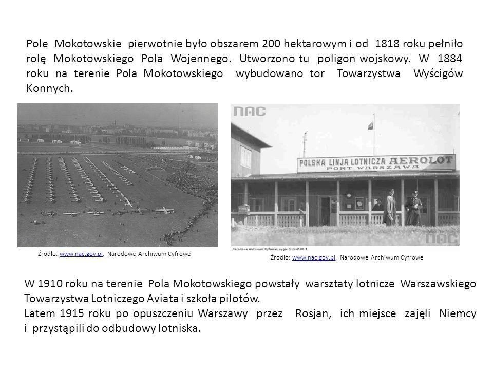 Pole Mokotowskie pierwotnie było obszarem 200 hektarowym i od 1818 roku pełniło rolę Mokotowskiego Pola Wojennego. Utworzono tu poligon wojskowy. W 1884 roku na terenie Pola Mokotowskiego wybudowano tor Towarzystwa Wyścigów Konnych.