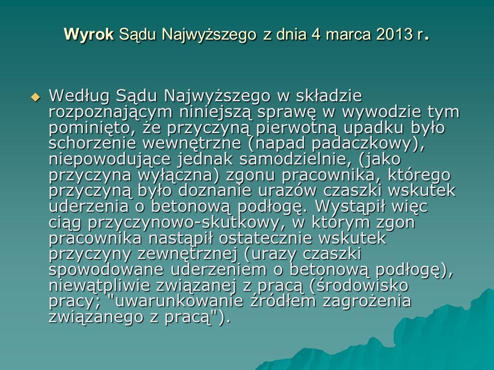 Wyrok Sądu Najwyższego z dnia 4 marca 2013 r.