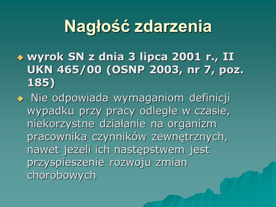 Nagłość zdarzenia wyrok SN z dnia 3 lipca 2001 r., II UKN 465/00 (OSNP 2003, nr 7, poz. 185)