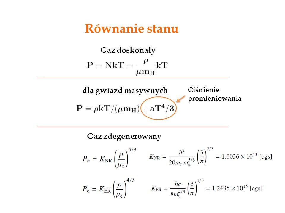 Równanie stanu Gaz doskonały dla gwiazd masywnych Gaz zdegenerowany