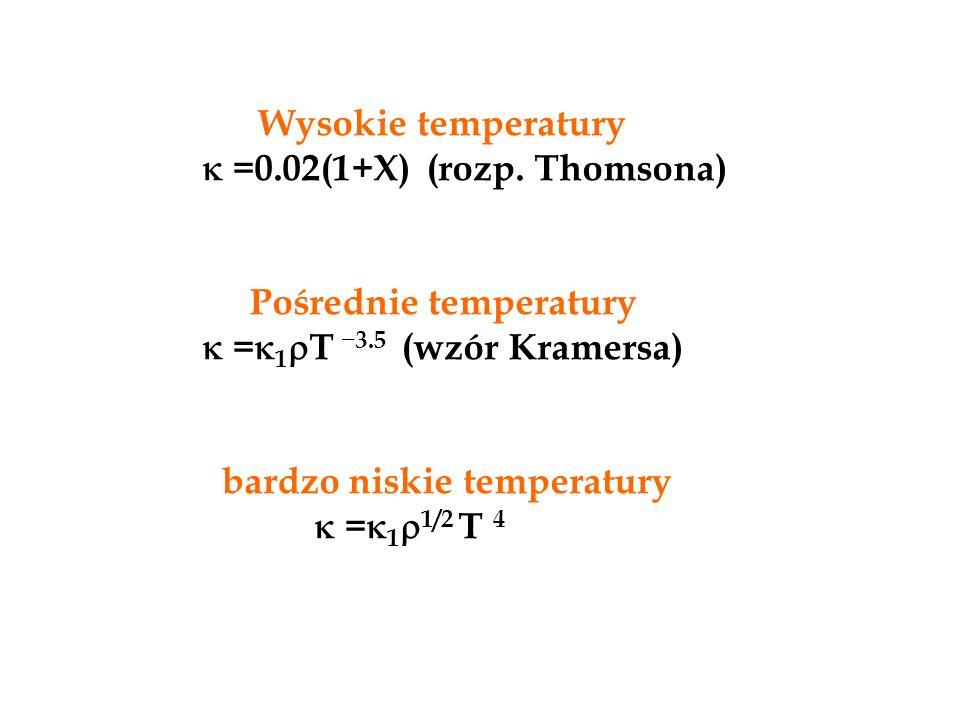 Wysokie temperatury  =0.02(1+X) (rozp. Thomsona) Pośrednie temperatury.  =1T _3.5 (wzór Kramersa)
