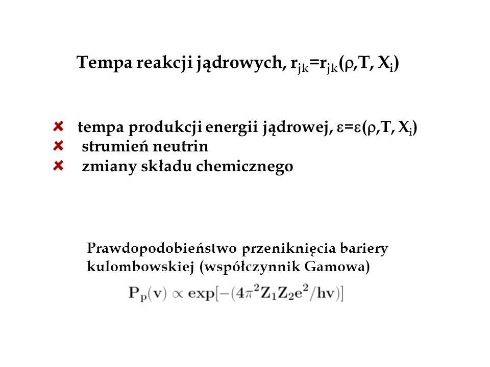 Tempa reakcji jądrowych, rjk=rjk(,T, Xi)