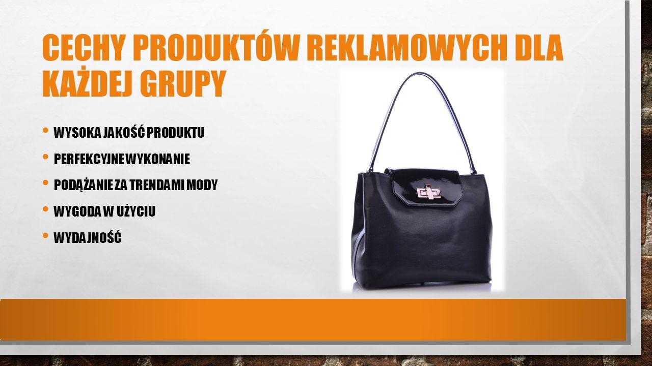 Cechy produktów reklamowych dla każdej grupy