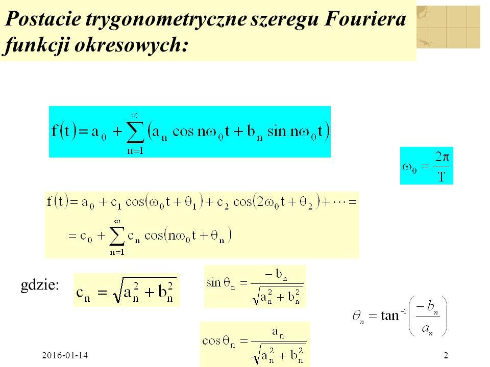 Postacie trygonometryczne szeregu Fouriera funkcji okresowych: