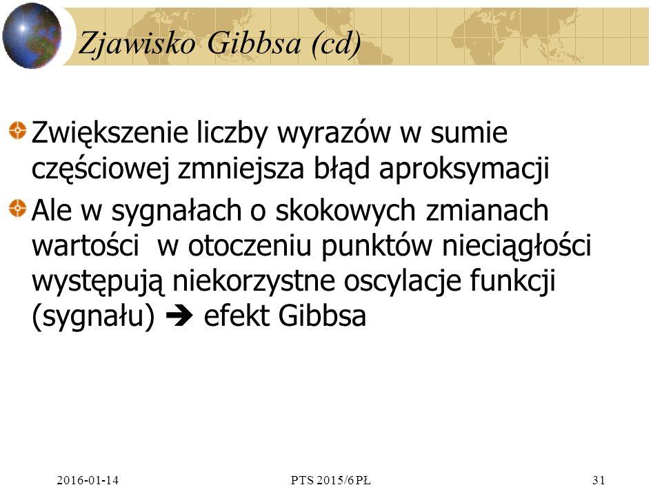 Zjawisko Gibbsa (cd) Zwiększenie liczby wyrazów w sumie częściowej zmniejsza błąd aproksymacji.
