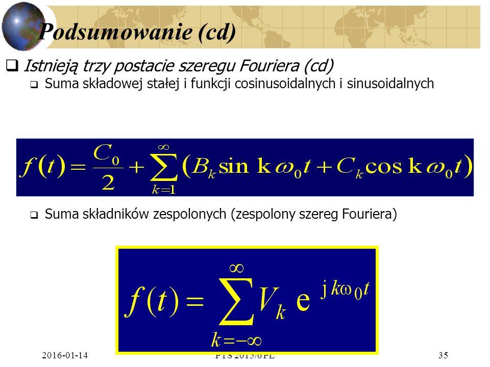 Podsumowanie (cd) Istnieją trzy postacie szeregu Fouriera (cd)