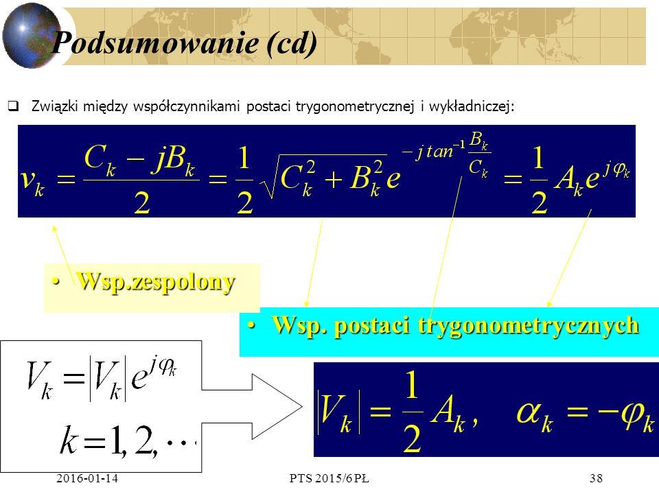 Podsumowanie (cd) Wsp.zespolony Wsp. postaci trygonometrycznych