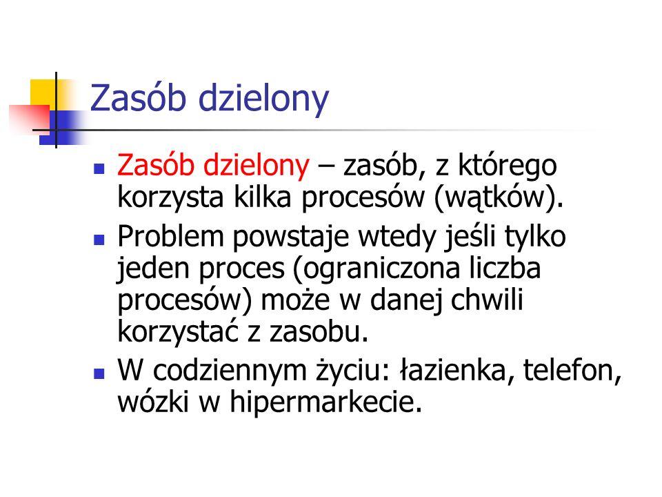 Zasób dzielony Zasób dzielony – zasób, z którego korzysta kilka procesów (wątków).