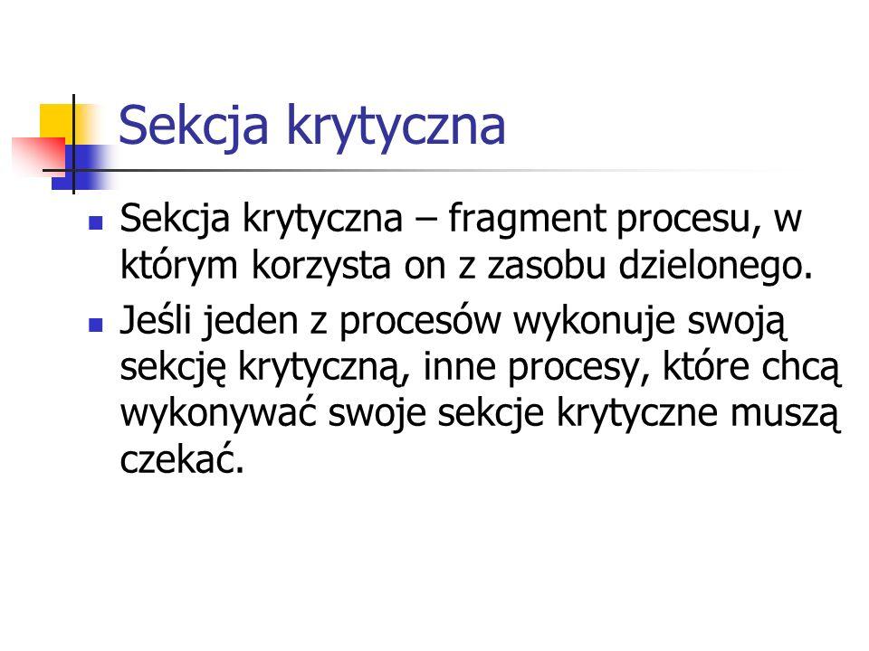 Sekcja krytyczna Sekcja krytyczna – fragment procesu, w którym korzysta on z zasobu dzielonego.