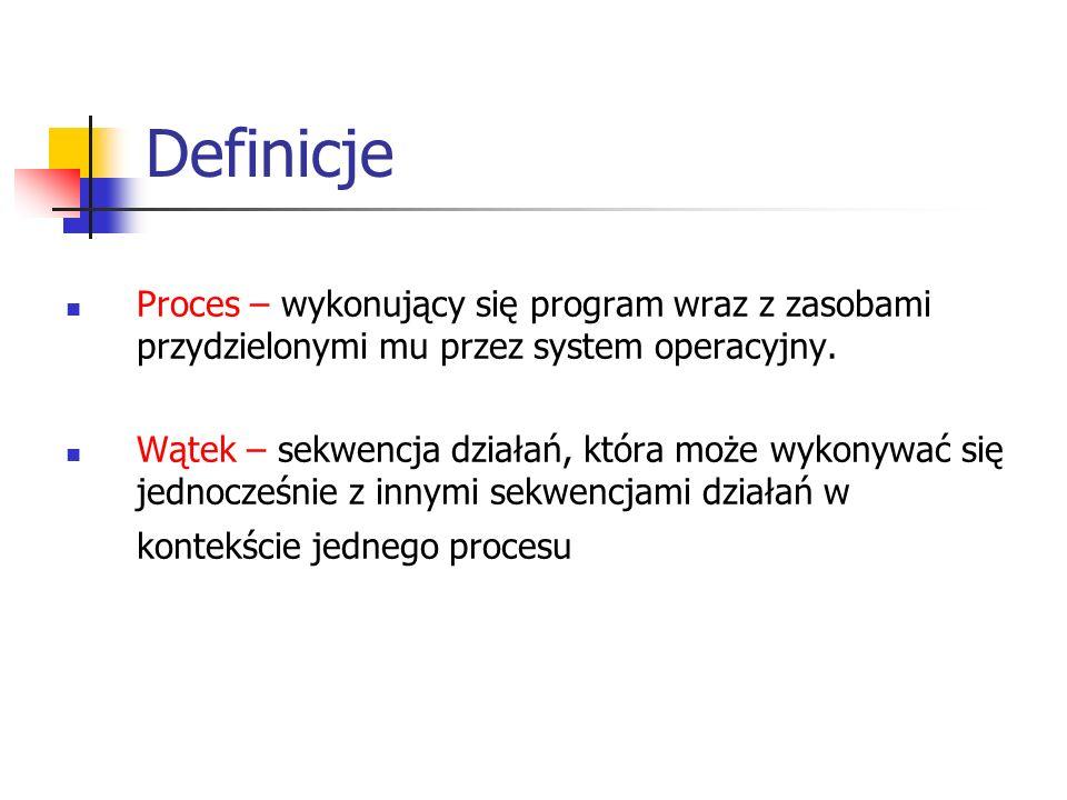 Definicje Proces – wykonujący się program wraz z zasobami przydzielonymi mu przez system operacyjny.