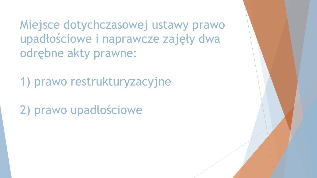 Miejsce dotychczasowej ustawy prawo upadłościowe i naprawcze zajęły dwa odrębne akty prawne: 1) prawo restrukturyzacyjne 2) prawo upadłościowe