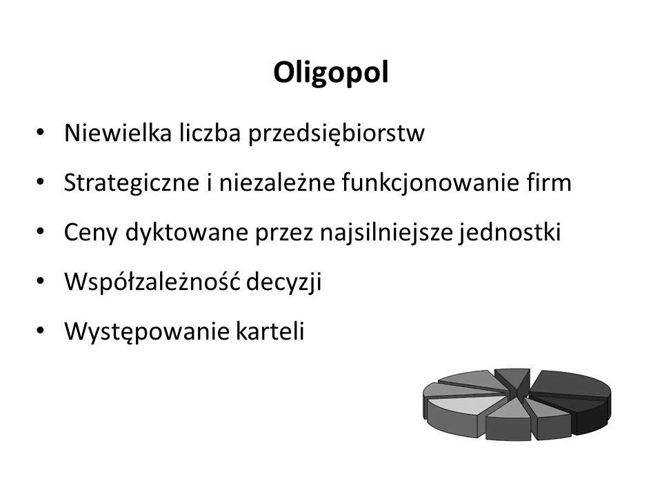 Oligopol Niewielka liczba przedsiębiorstw
