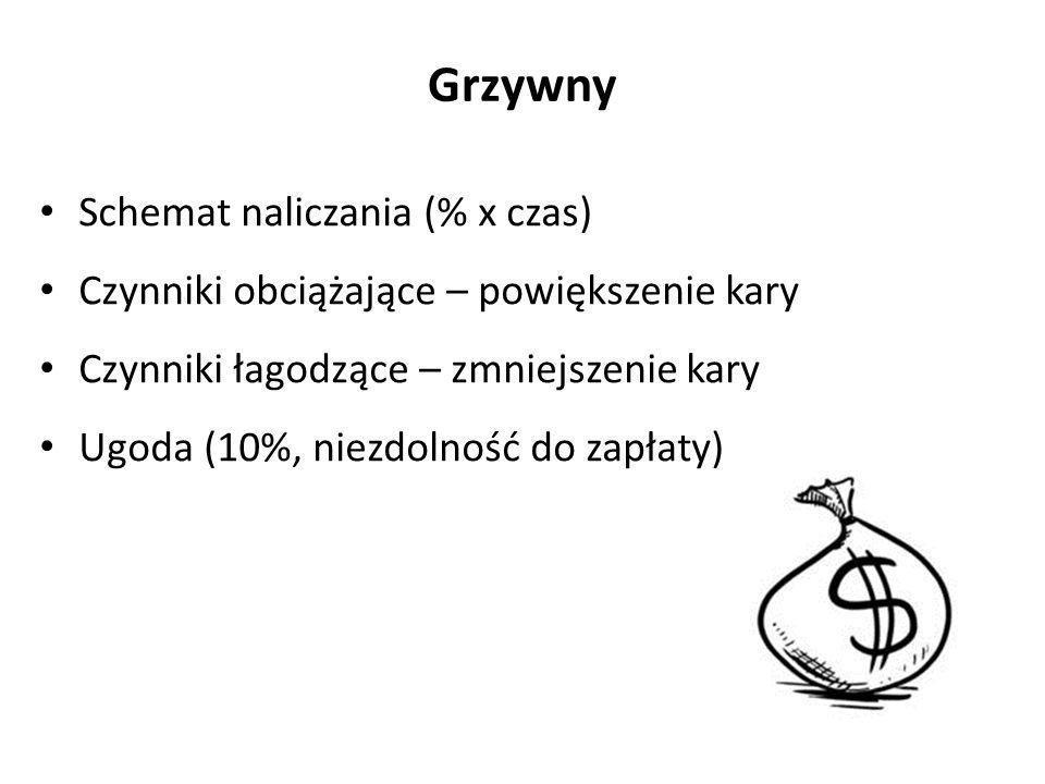 Grzywny Schemat naliczania (% x czas)