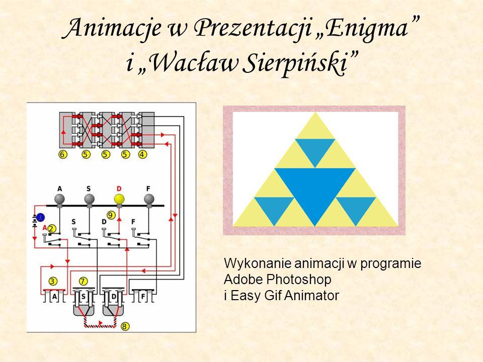 """Animacje w Prezentacji """"Enigma i """"Wacław Sierpiński"""