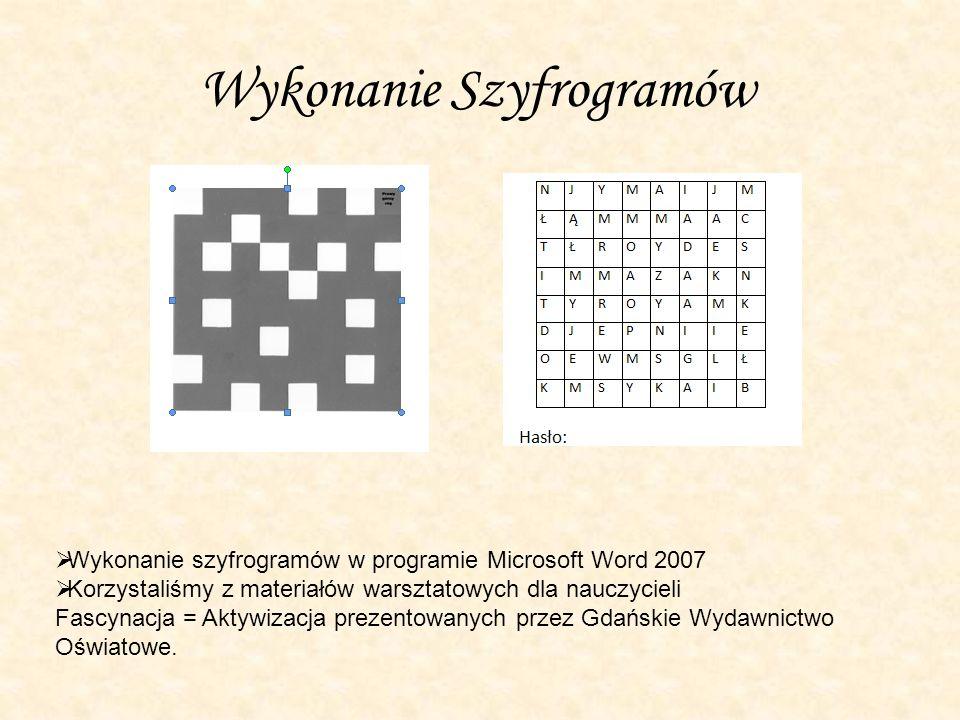 Wykonanie Szyfrogramów
