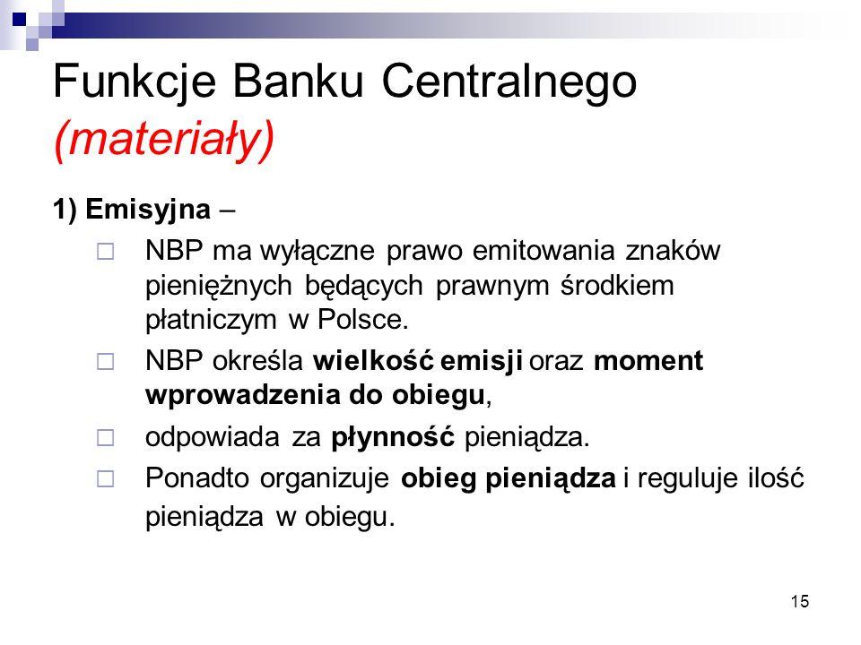Funkcje Banku Centralnego (materiały)