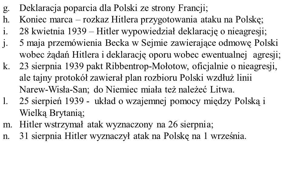 Deklaracja poparcia dla Polski ze strony Francji;