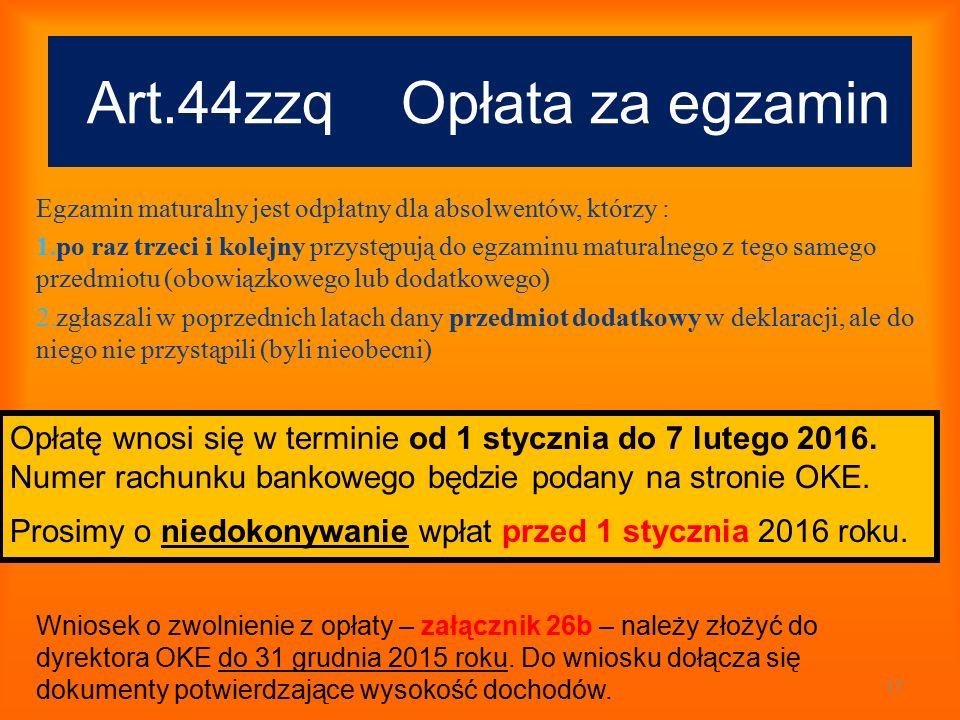 Art.44zzq Opłata za egzamin