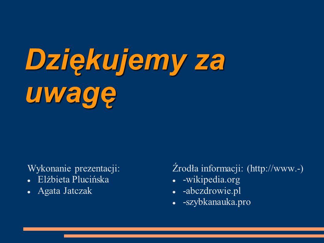 Dziękujemy za uwagę Wykonanie prezentacji: Elżbieta Plucińska