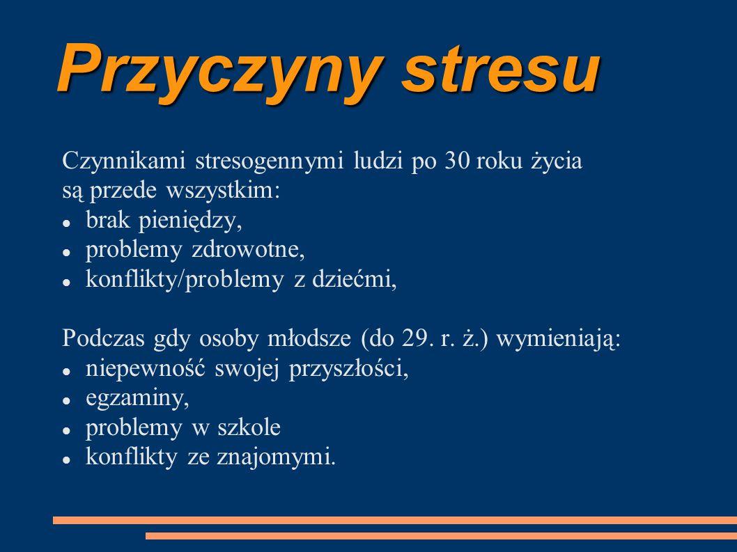 Przyczyny stresu Czynnikami stresogennymi ludzi po 30 roku życia