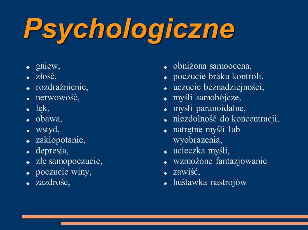 Psychologiczne gniew, złość, rozdrażnienie, nerwowość, lęk, obawa,