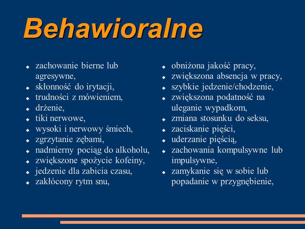 Behawioralne zachowanie bierne lub agresywne, skłonność do irytacji,